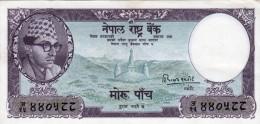 NEPAL MOHRU 5 BANKNOTE KING MAHENDRA 1960 PICK NO.9 EXTREMELY FINE (XF) - Nepal
