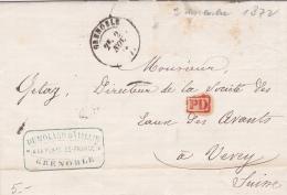 Lettre 13,5 X 9 Cms.- PD, à Destination Du Directeur De La Société Des Eaux Des Avants-Obllitérée GRENOBLE Le 2 Nov.1872 - Suisse