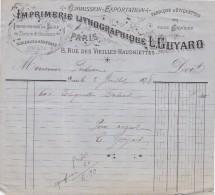 FACTURE DE L'IMPRIMERIE LITHOGRAPHIQUE L GUYARD RUE DES VIEILLES HAUDRIETTES PARIS EN 1878 - France