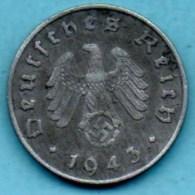 R7/ GERMANY  3° REICH   10  REICHS PFENNIG  1943 A