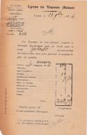 FACTURE DU LYCEE DE VANVES (SEINES) POUR UN ELEVES - France
