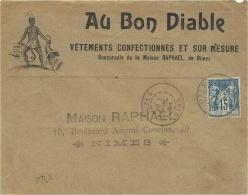 """1894 - Enveloppe ILLUSTREE  """" AU BON DIABLE """"  Affr. 15 C Sage Oblit.  UZES / GARD - Marcophilie (Lettres)"""