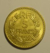 """France 5 Francs """""""" LAVRILIER """""""" 1945 """""""" C """""""" Cupro - Aluminium # 2 Qualité - HIGH  GRADE - Frankrijk"""