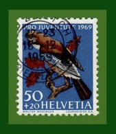""".1969 Schweiz PRO JUVENTUTE Mi.-Nr. 917 Gestempelt """"Eichelhäher (Garrulus Glandarius)"""" (AL711) - Gebruikt"""