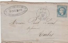 Yvert 29 Lettre Cachet PARIS Rue De Bondy étoile 5 - 13/12/1868 - Ambulant Paris à Bordeaux - Storia Postale