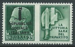 1944 RSI PROPAGANDA DI GUERRA 25 CENT - MACCHIE DI INCHIOSTRO - MNH ** - CZ41-3 - Propaganda Di Guerra