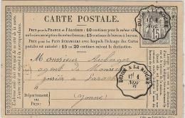 CTN45- EP CPO CIRCULEE AMBULANT DIJON A LA ROCHE 1/11/1877 - Entiers Postaux