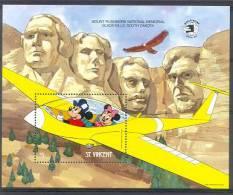 NctD075 WALT DISNEY MICKEY PLANE MOUNT RUSHMORE VLIEGTUIG VOGELS ADELAAR BIRDS EAGLE FLUGZEUG ST. VINCENT 1989 PF/MNH - Disney