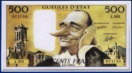 1 SPÉCIMEN VRAIE FAUSSE MONNAIE 500 FRANCS PASCAL PRESIDENT DE LA REPUBLIQUE GUEULE D'ETAT PUBLICITAIRE FICTIF ? - Specimen