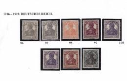 ALLEMAGNE 1916 19 DEUTSCHES REICH 96 A 103 MH - Unused Stamps
