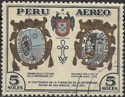 PERU 1951 Air. 4th Cent Of S. Marcos University - 5s University Arms In 1571 & 1735 FU - Peru