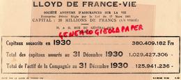 75 - PARIS - BUVARD LLOYD DE FRANCE VIE- ASSURANCES 1930- 19-21 RUE DU GENERAL FOY - Banque & Assurance