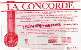 75 - PARIS - BUVARD ASSURANCES LA CONCORDE - 5-7 RUE DE LONDRES ET RUE ST LAZARE- 1920-1934 - Banque & Assurance