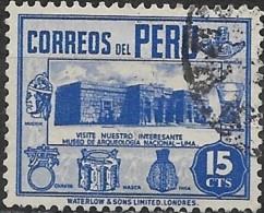 PERU 1938 Archaelogical Museum, Lima - 15c. - Blue  FU - Peru