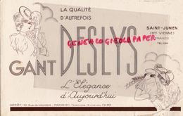 87 - SAINT JUNIEN - BUVARD GANTERIE GANTS DESLYS- 10 RUE LOUVOIS PARIS - GANT COURSES HIPPIQUES HIPPISME TIERCE - Buvards, Protège-cahiers Illustrés