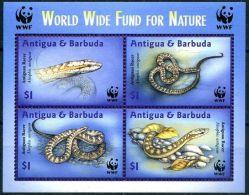 (WWF-318) W.W.F Antigua & Barbuda Snake MNH Souvenir Sheet 2002 - W.W.F.