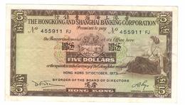 Hong Kong 5 Dollars, 1973. XF. Free Economic Ship. To USA - Hongkong