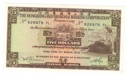 Hong Kong 5 Dollars, 1975. Aunc. Free Economic Ship. To USA - Hong Kong