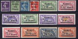Memel (Klaipeda) 1922 Mi 84-97 * (Mi 95-96 **) [301016XIII] - Memelgebiet