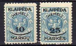 Memel (Klaipeda) 1923 Mi 124-125 (*) [301016XIII] - Memelgebiet