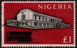 ~~~ Nigeria 1961 - Railway Station Lagos Trains 1 £ - Mi. 104 (o) Used - CV 12.00 €  ~~~ - Nigeria (...-1960)