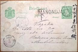 16666# INDES NEERLANDAISES BRIEFKAART Obl MANONDJAIJA BAROET 1889 BATAVIA WELTEVREDEN Nederlandisch-Indië - Nederlands-Indië