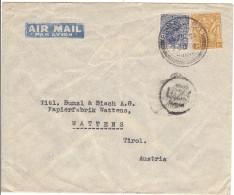 Reco - Brief  Von L.A.Bund An Papierfabrik Bunzl & Biach In Wattens, Stamp (Three Annas And Six Pies, Six Annas )1937 - Indien (...-1947)