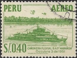 """PERU 1952 Air. Gunboat """"Maranon"""" - 40c. - Green  FU - Peru"""