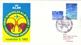 Nederland - 1ste Vlucht - 5 November 1983 - Amsterdam-Harare - Vl. Hol. 1039c - Marcofilie - EMA (Print Machine)
