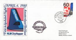 Nederland - 1ste Vlucht - 8 April 1980 - Amsterdam-Belfast - Vl. Hol. 1004a - Marcofilie - EMA (Print Machine)