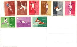 9 Marken Von Der Olympiade 1960 In Rom Auf AK - San Marino