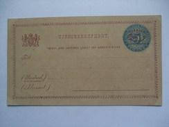 SWEDEN 1882 TJENSTEBREFKORT SEX ORE OVERPRINTED ON FEM ORE - Storia Postale