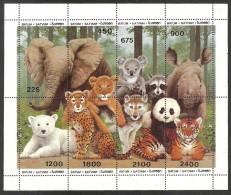 BATUM 1998 WILDLIFE ELEPHANT PANDA TIGER RHINO POLAR & KOALA BEAR SHEET MNH - Georgia