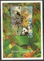 BATUM 1998 BIRDS PARROT TOUCAN WILDLIFE ELEPHANT PANDA TIGER LAMB SHEET MNH - Georgia