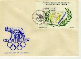 Pologne 1987 FDC Michel Bl 104  ( 1 FDC ) Y  Bl 114 Olymphilex 87 Louve Rome Escrime - FDC