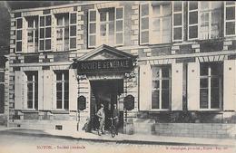 CARTE POSTALE ORIGINALE PUBLICITE ANCIENNE : LA BANQUE DE LA SOCIETE GENERALE DE NOYON ; ANIMEE ; OISE (60) - Banques