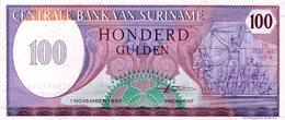 BANCONOTA NUOVA SURINAME DA 100 GULDEN - Suriname