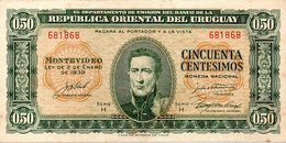 BANCONOTA USTATA URUGUAY DA 0,50 CENTESIMOS - Uruguay