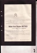 VILVORDE KORTENBERG Marie CAMMAERTS Veuve MATTHIEU 1848-1926 Doodsbrief - Obituary Notices