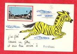 45 Loiret Dordives Carte Humoristique Avec Petite Photo De Dordives Ajoutée Zebre - Dordives