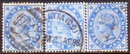 MALTA 1885 SG #24-26 2½d Used Three Shades Wmk Crown CA - Malta (...-1964)
