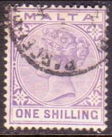 MALTA 1885 SG #28 1sh Used Wmk Crown CA Violet CV £12 - Malta (...-1964)