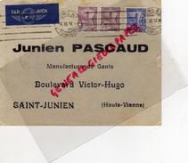 87 - SAINT JUNIEN - TUNISIE- TUNIS- ENVELOPPE EMILE CHEMLA A JUNIEN PASCAUD GANTIER GANTERIE-BD VICTOR HUGO-1937 - Tunisie (1956-...)
