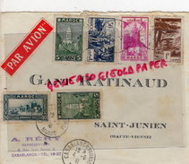 87 - SAINT JUNIEN - MAROC-CASABLANCA- ENVELOPPE AVION- GANTERIE RATINAUD-GANTS- A. RERY -1941 - Marocco (1956-...)