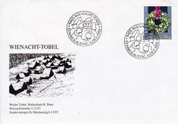 Weihnacht - Tobel, Weiler Tobel, Holzschnitt R. Peter. Weihnachtsmarkt 5.12.93. Sonderstempel 6.12.93 Mi.J328 - Weihnachten