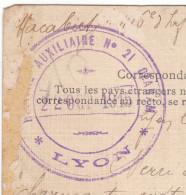 69 Lyon. Carte De 1915, Cachet Violet Hopital Auxiliaire N°21 Ozanam. Bonne Frappe. - Marcophilie (Lettres)