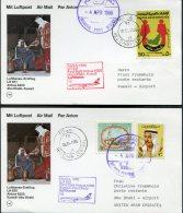 1986 Lufthansa First Flight Postcards(2) Abu Dhabi / Kuwait - Abu Dhabi