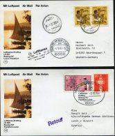1987 Lufthansa First Flight (2) Luxor Egypt / Frankfurt Germany - Airmail