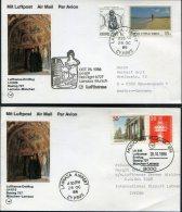 1986 Lufthansa First Flight (2) Larnaca Cyprus / Munich, Germany - Covers & Documents