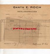 87 - SAINT JUNIEN -  NOTE EXPEDITION GANTS GANTERIE E. ROCH - 1944 - Buvards, Protège-cahiers Illustrés